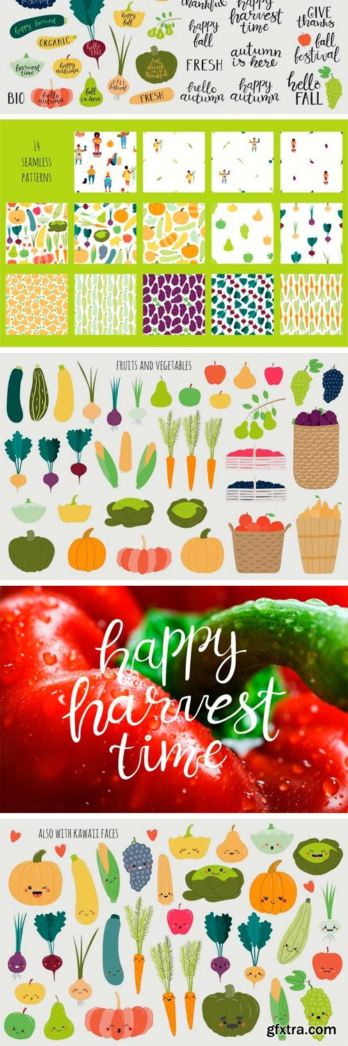 CM - Happy Harvest Time Vector Set 3159679