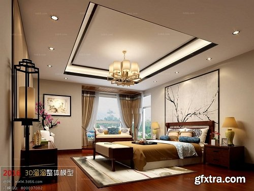 Modern Bedroom Interior Scene 77