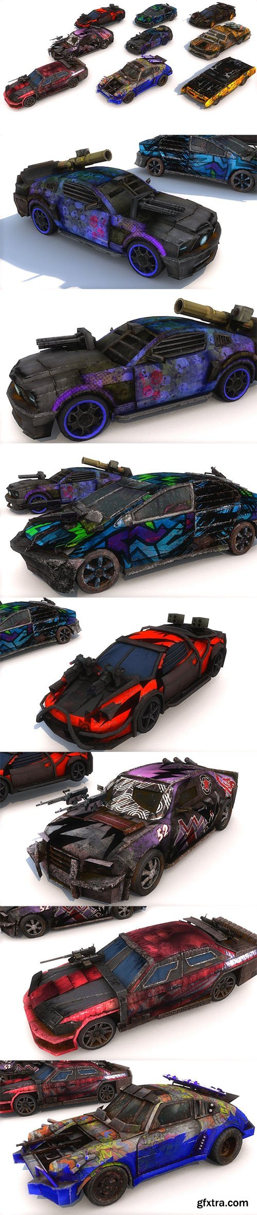 Cgtrader - Pack Of 9 low poly game ready monster death race cars Low-poly 3D model