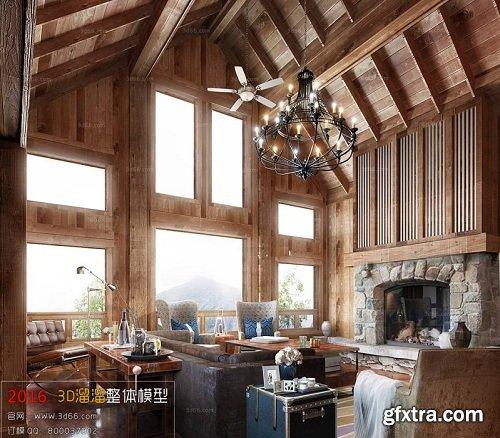 American Style Living Room Interior Scene 03