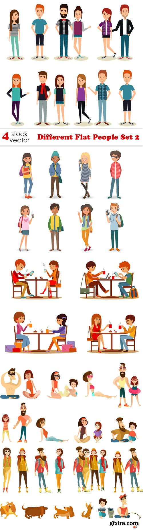 Vectors - Different Flat People Set 2