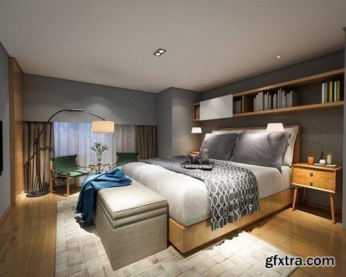 Modern Bedroom Interior Scene 78