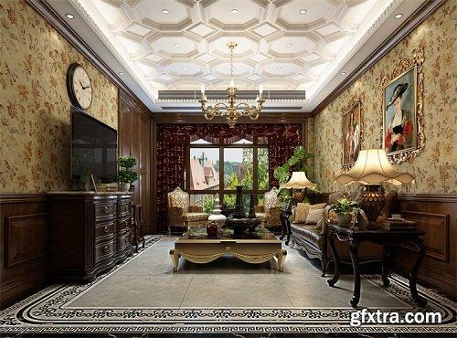 American Style Living Room Interior Scene 04