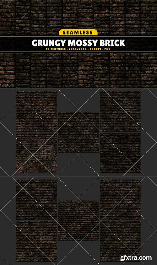 Cgtrader - Texture Pack Seamless Grungy Mossy Brick Vol 01 Texture