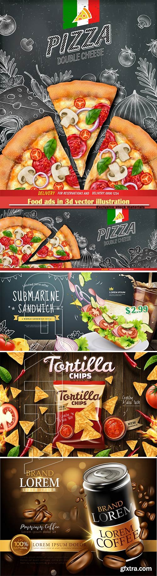 Food ads in 3d vector illustration