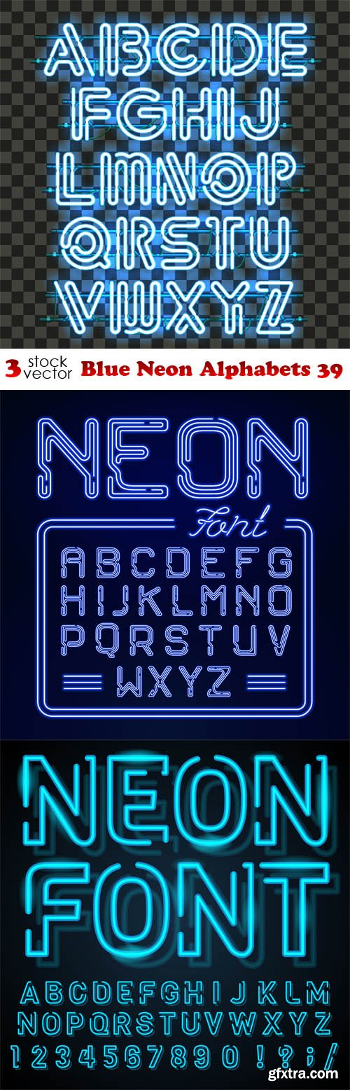 Vectors - Blue Neon Alphabets 39
