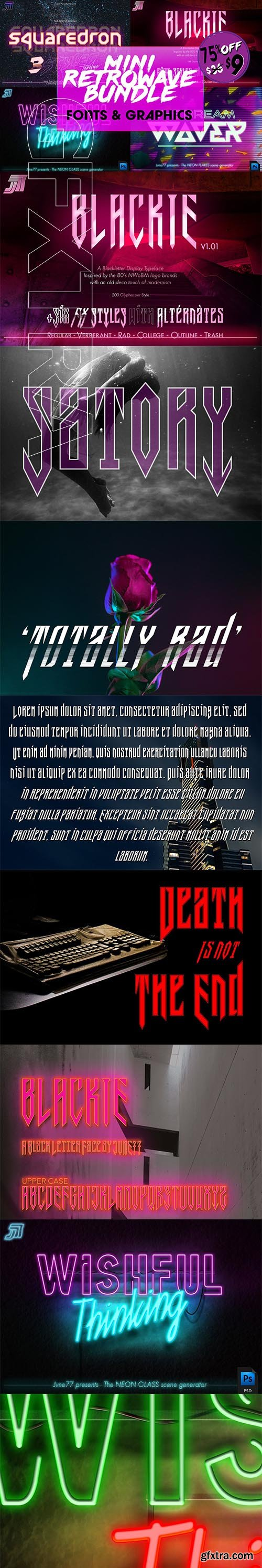 CreativeMarket - Retrowave Bundle of Fonts & Graphics 3709080