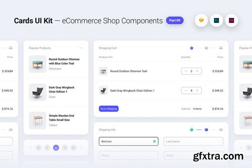 Cards UI Kit - eCommerce Shop Widgets & Components Part 09 - White