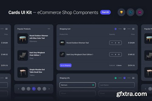 Cards UI Kit - eCommerce Shop Widgets & Components Part 09 - Black