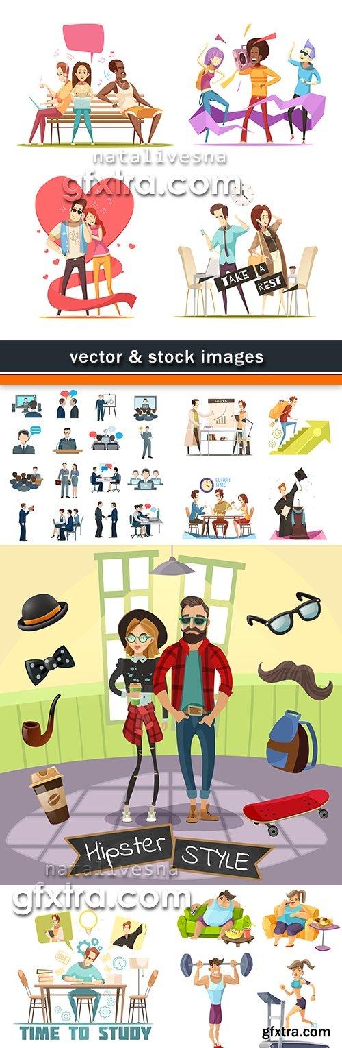 People different way of life cartoon illustration