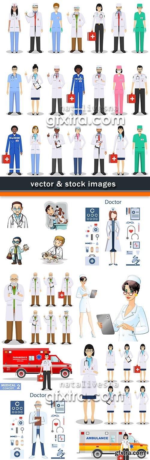 Medicine doctor in uniform and ambulance car illustration 10
