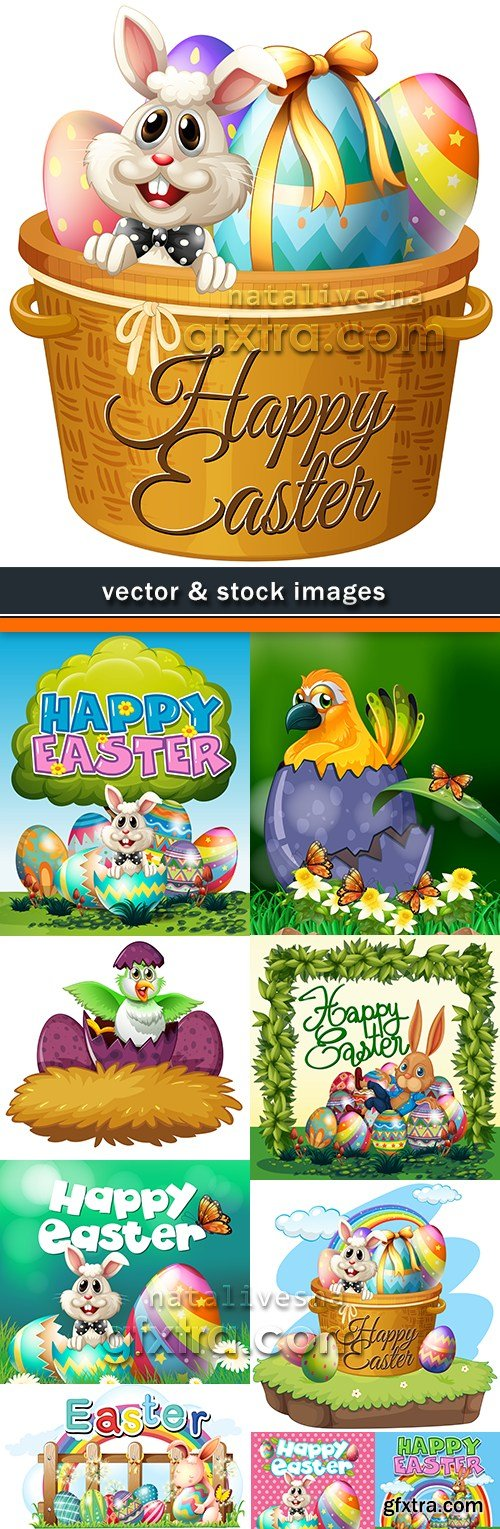 Happy Easter decorative illustration design elements 15