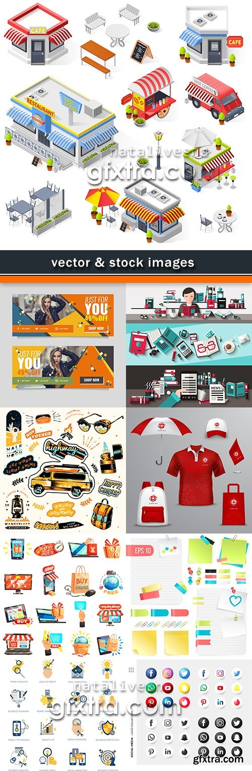 Business vector illustrations collection different subjects 35