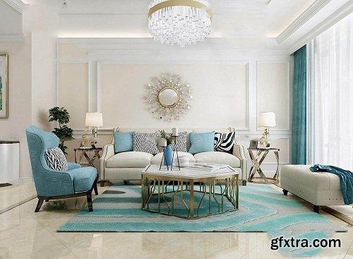 European Style Living Room Interior Scene 03