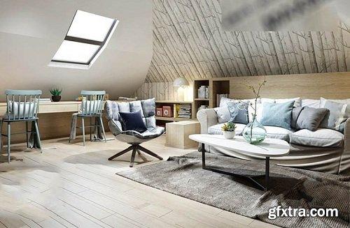 Nordic Style Living room Interior Scene 06