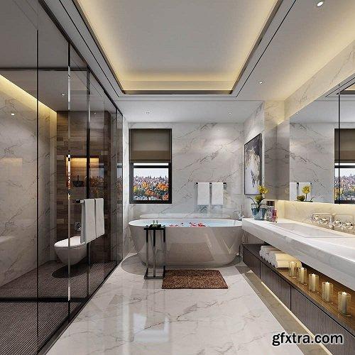 Hotel Bathroom Interior Scene