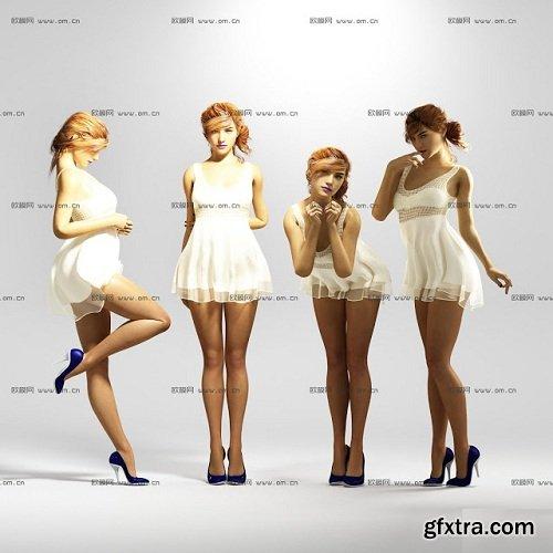 Sexy Girls Standing 3d Model