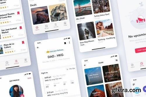 Travel & ticket Booking App UI Kit