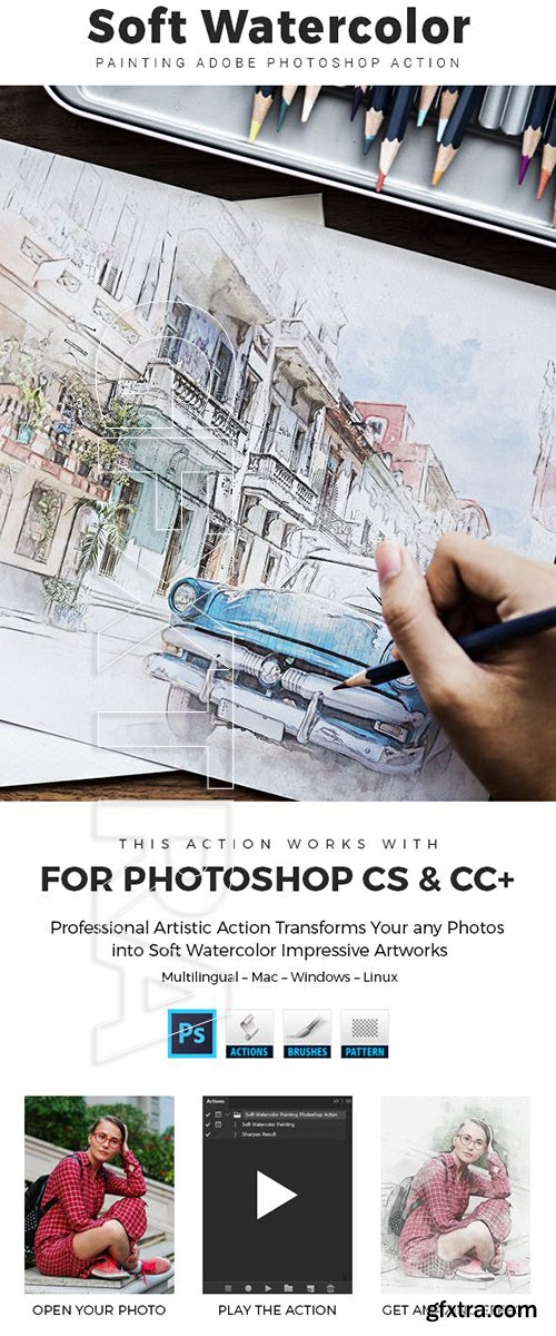 GraphicRiver - Soft Watercolor Painting Photoshop Action 23632531
