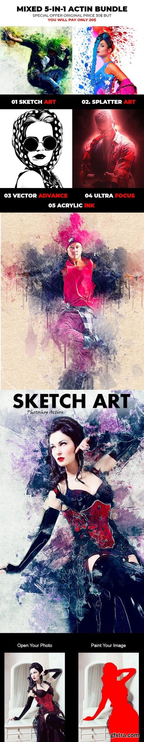Graphicriver - Mixed Art 5 in 1 Photoshop Action Bundle 22667080