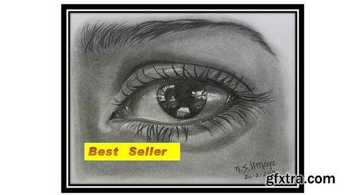 Draw Realistic Eye, Nose, Ear, Lip In Pencil Shading Medium