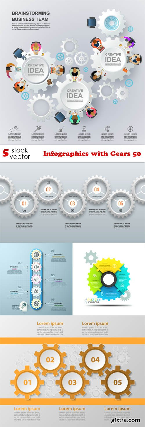 Vectors - Infographics with Gears 50