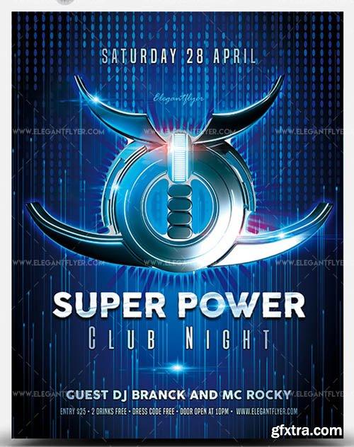 Super Power Club Night V1 2019 PSD Flyer Template
