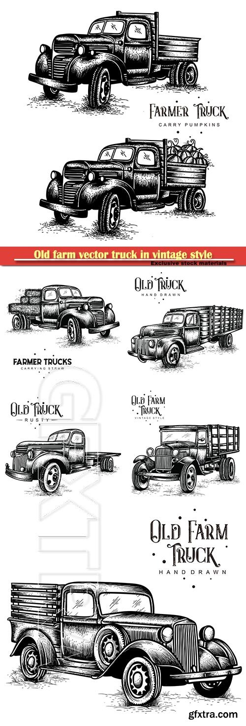 Old farm vector truck in vintage style