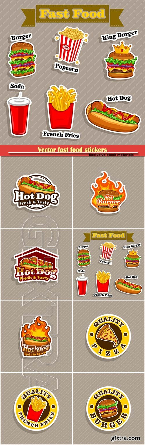Vector fast food stickers