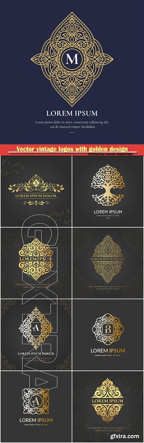 Vector vintage logos with golden design