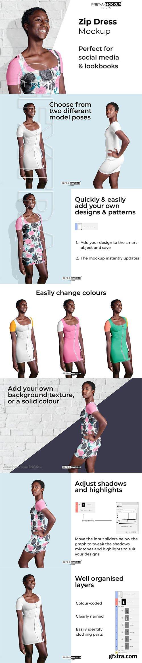 CreativeMarket - Zip Dress Mockup 3702444