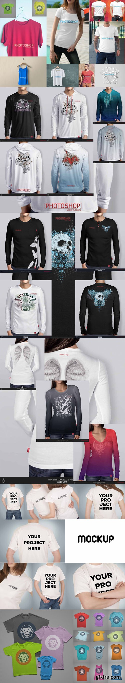 Best Awesome T-shirt & Long Sleeve PSD Mockups Collesction