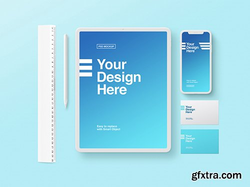 White Tablet, Phone, and Business Card Mockup on Blue Background 259195374