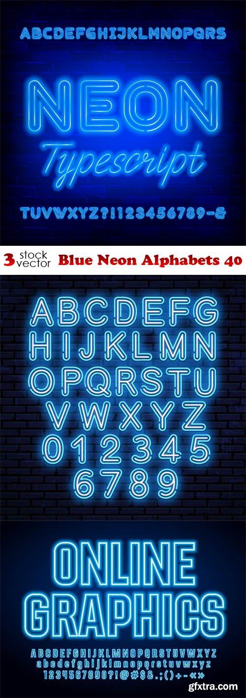 Vectors - Blue Neon Alphabets 40