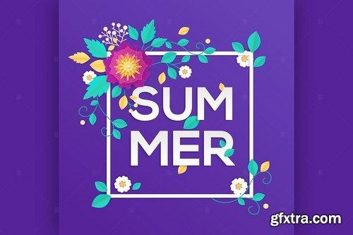 Summer - modern vector colorful illustration