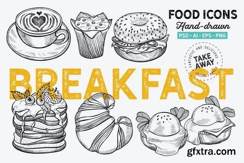 Sandwich Fast Food Smoothie Breakfast Pastries Dessert Sandwich Hand-Drawn Graphics