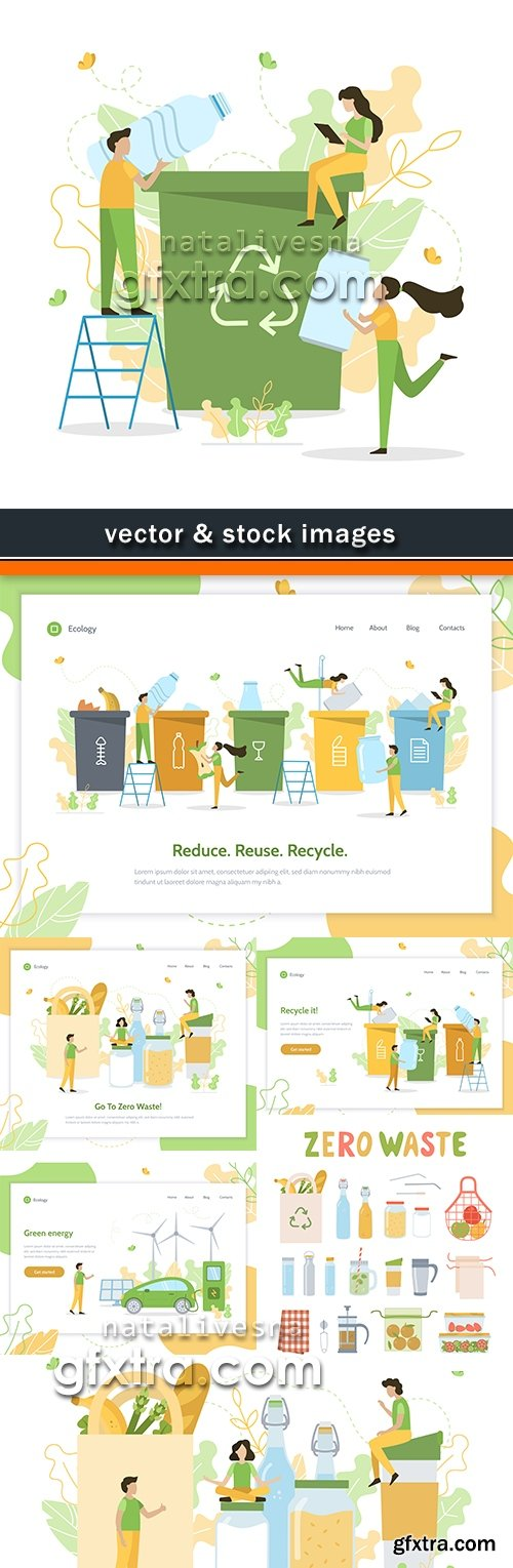 Ecology environment and waste recycling illustration