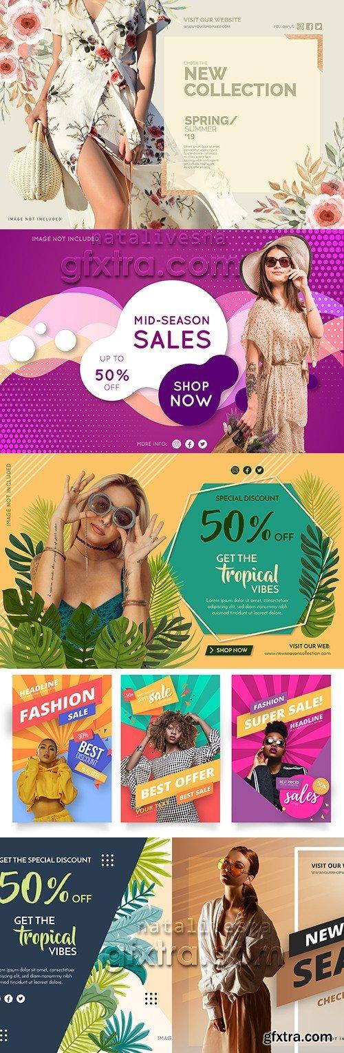 Seasonal discounts and sale vector template design