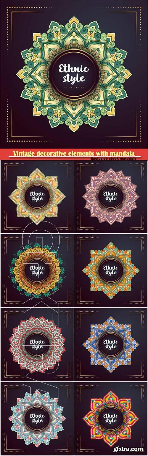 Vintage decorative elements with mandala vector illustration