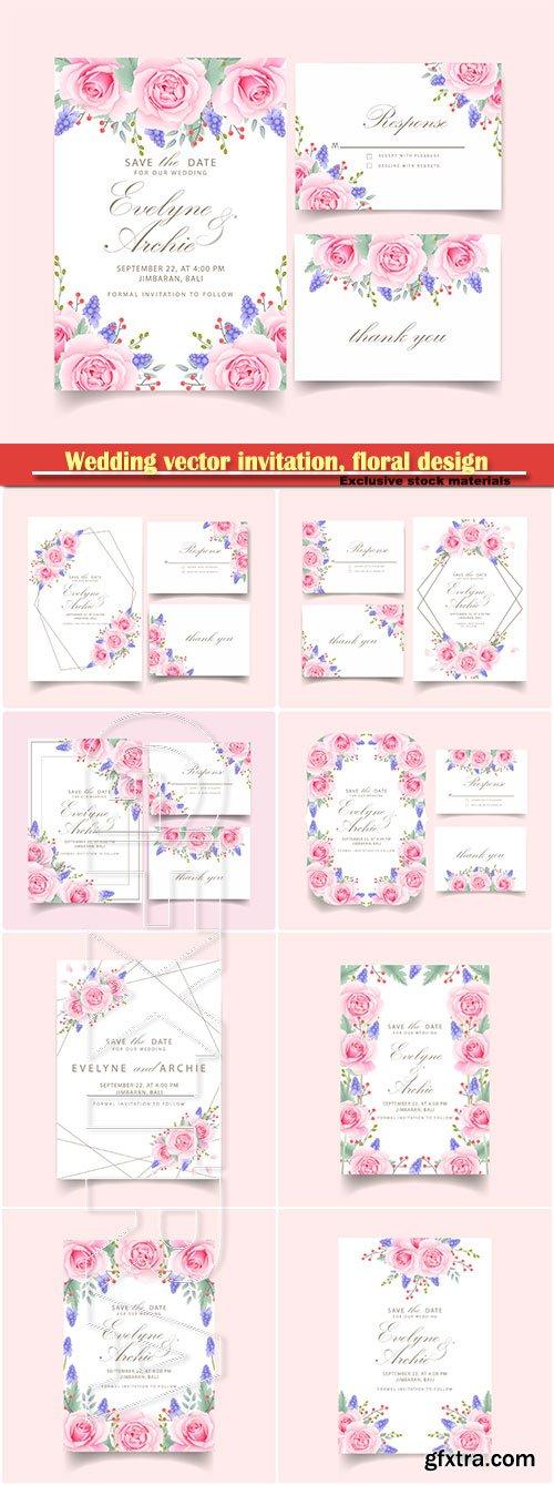 Wedding vector invitation, floral design