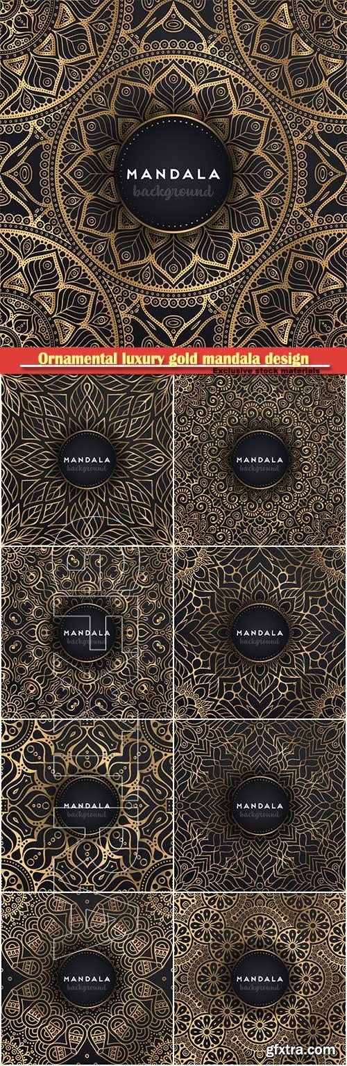 Ornamental luxury gold mandala design vector background