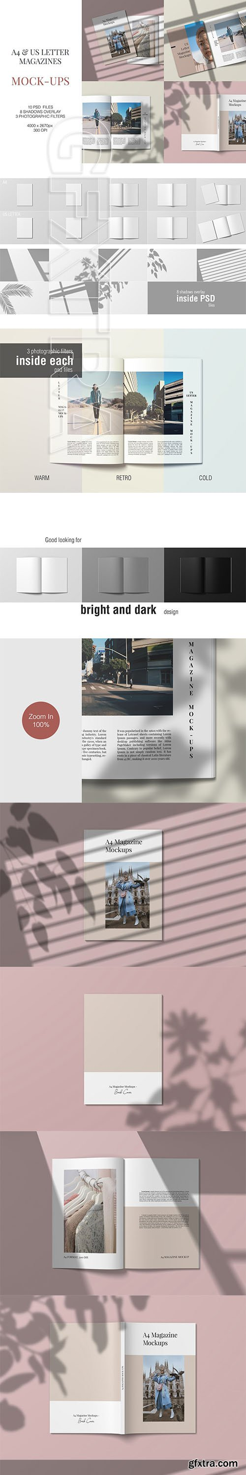 CreativeMarket - A4 and US Letter Magazine Mockups 3710369