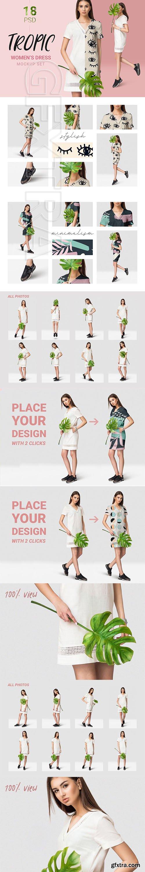 CreativeMarket - Female dress mockups + Free demo 3714355