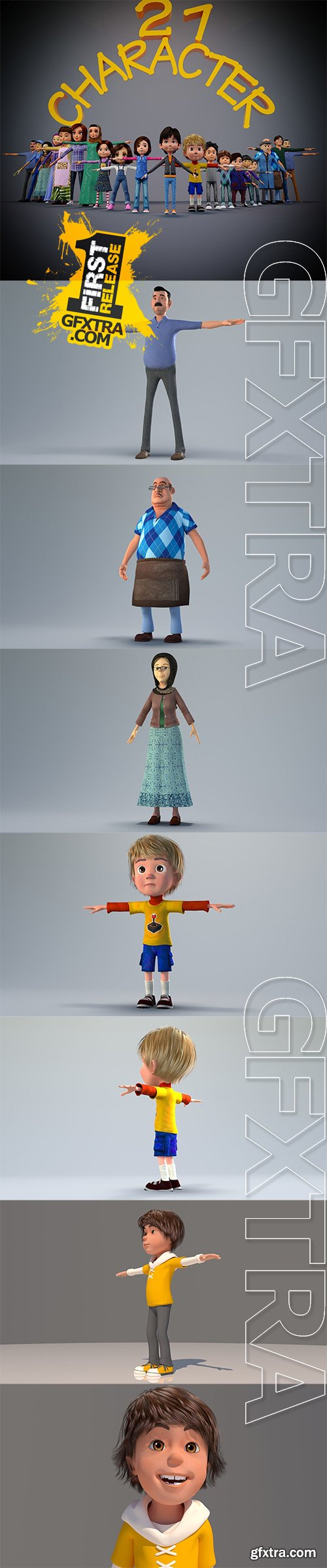 Cgtrader - TOON CHARACTER BUNDLE - 21 RIGGED CHARACTER 3D model