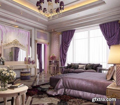 Modern Bedroom Interior Scene 86