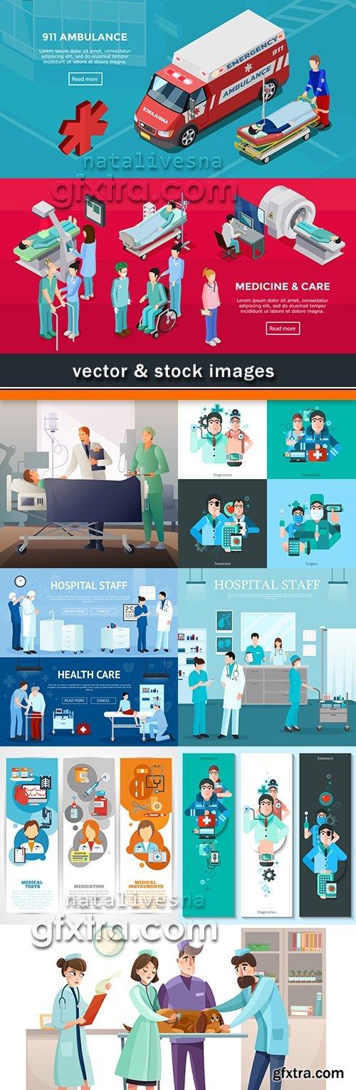 Medicine doctor in uniform and ambulance car illustration 11