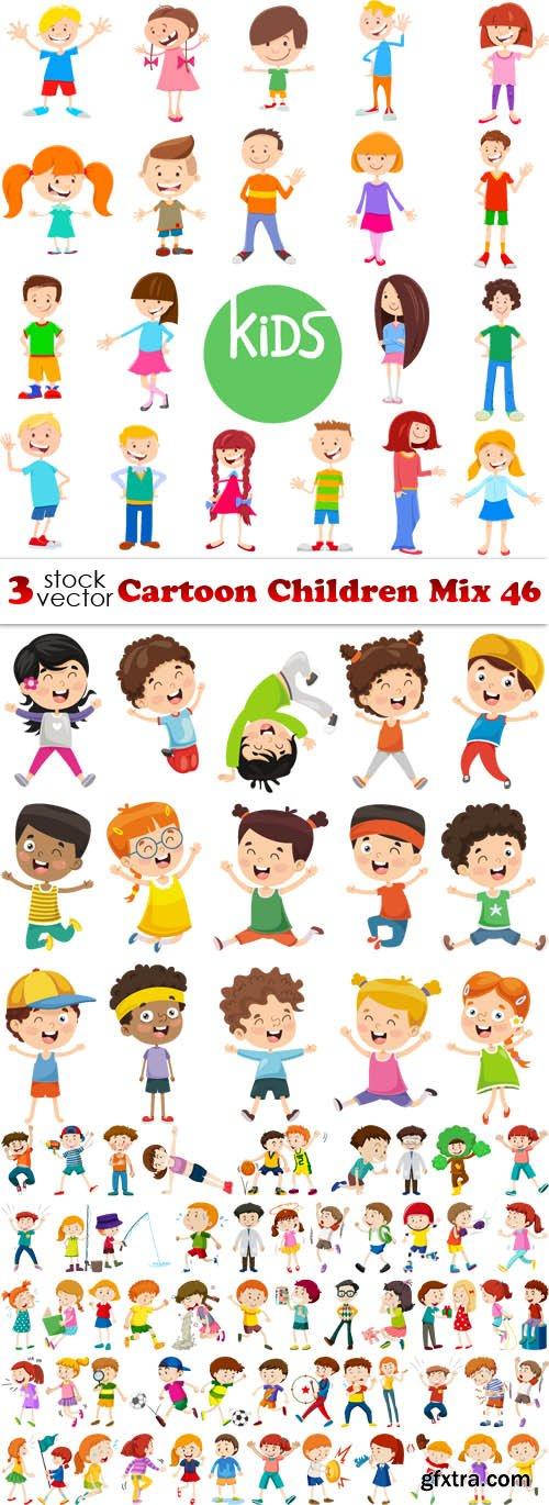Vectors - Cartoon Children Mix 46