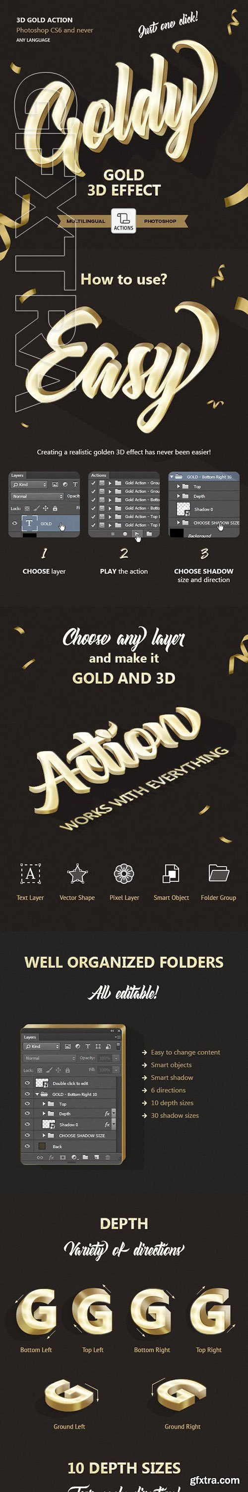 GraphicRiver - Gold 3D - Photoshop Action 23689581