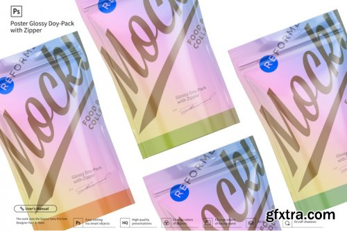 Glossy Doy-Pack with Zipper Poster Mockup