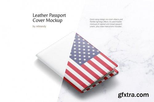 CreativeMarket - Leather Passport Cover Mockup 3706867